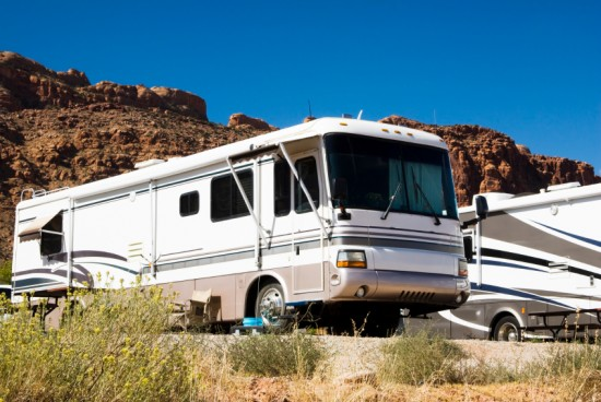 recreational vehicles in a campground in the southwest