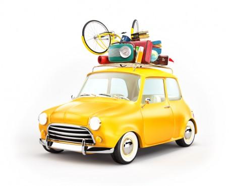 Retro car with luggage. Unusual  travel illustration